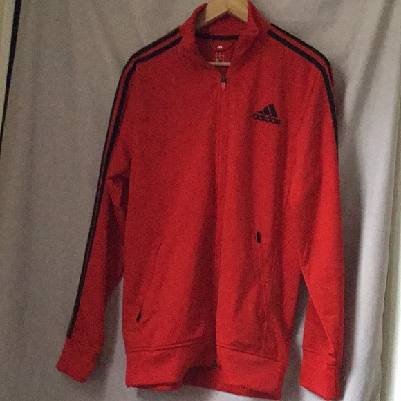 Adidas Jackets Coats Red Black Striped Athletic Jacket Poshmark